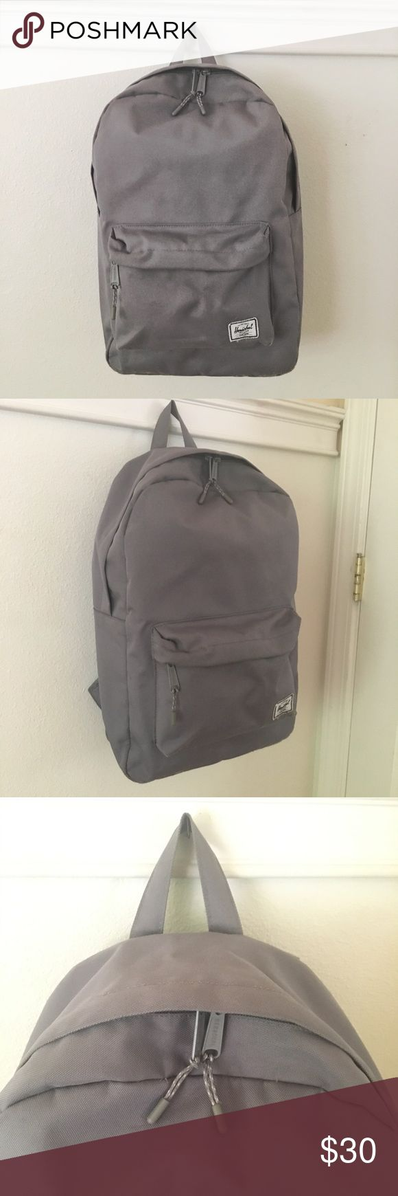 Herschel Grey Backpack PRICE IS NEGOTIABLE! I purchased this backpack last year for school and I am getting a new backpack so now I'm selling it! It is almost in perfect condition. The only issue is there are a few scuffs on the front from usage. Herschel backpacks are amazing quality so this should last you for years to come. Herschel Supply Company Bags Backpacks