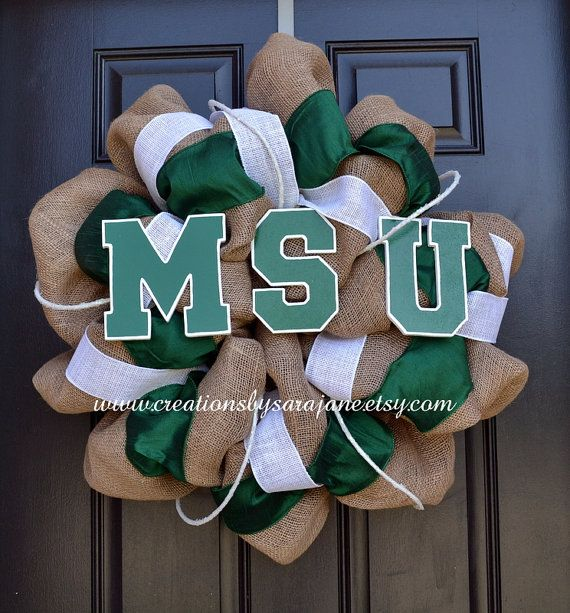 Very Classy way to celebrate the New Year...  Michigan State Wreath  Burlap Spartan by CreationsbySaraJane, $95.00