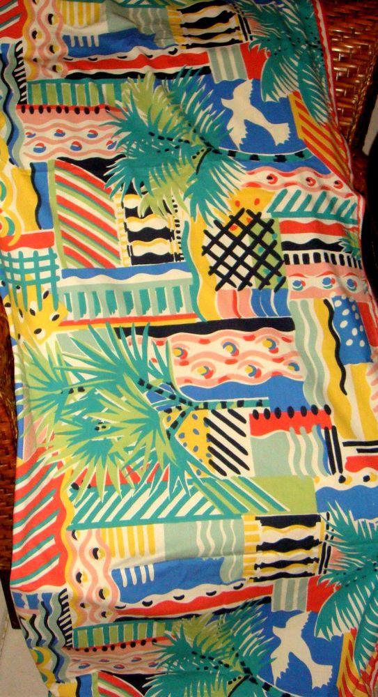 Collier Campbell Cote D'Azure Queen Flat Sheet Birds Palm Trees Rare Multi-Color #CollierCampbell #Contemporary