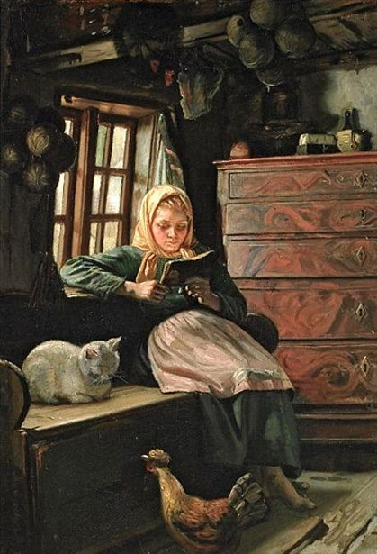 Sunday Afternoon - Interior With A Girl Reading-Michael Peter Ancher (1849 – 1927, Danish)