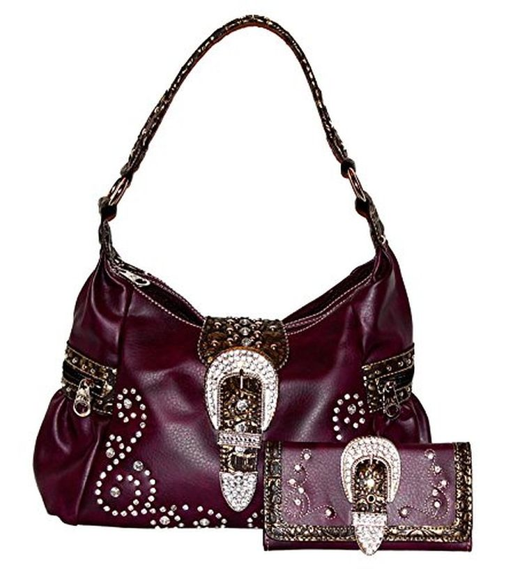 Montana West - Concealed Carry Purse - Rhinestone/Buckle Hobo with Matching Wallet