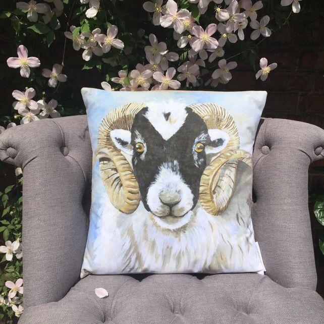 'Sebastian' Swaledale Sheep, Cushion Cover £10.00 #folksyfriday