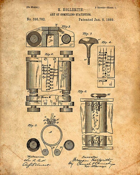 Patent Print of the First Computer in 1889 - Patent Art Print - Patent Poster - Computer Art