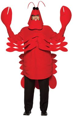 Be the hit of your next beach party with this great Lobster costume! Comes with the head, body tunic, and 2 claws-like gloves. One size fits most adults. Lightweight. Add your own pants. Don't go near