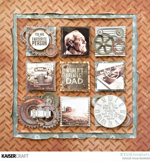 'World's Greatest Dad' Layout by Kylie Kingham Design Team for Kaisercraft Official Blog using the August 2017 'Factory 42' collection. Learn more at kaisercraft.com.au/blog - Wendy Schultz - Kaisercraft Layouts.