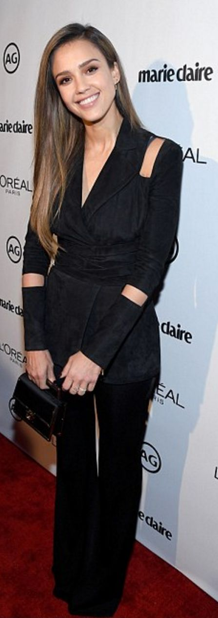 Who made Jessica Alba's black pants, jewelry, platform sandals, handbag, and cut out jaket?