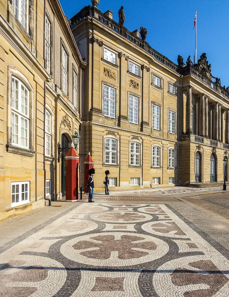 The octagonal courtyard of Amalienborg palace