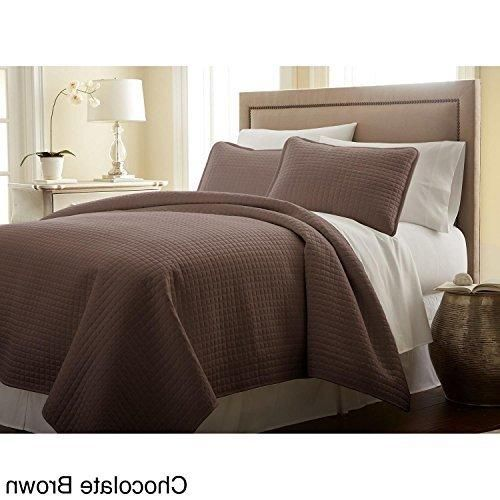 Oversized Brown King/Cal King Quilt Set Square Pattern Themed Bedding Cozy Chocolate Waffle Solid Plush Cottage Cabin Chic Trendy Modern Stylish Sleek