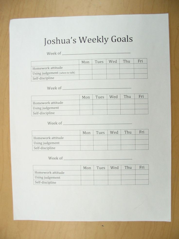 This is a self-evaluation sheet one student created to help him reach the goals he set at his November parent conference. He used a 1-4 scale to assess himself each day for each goal.