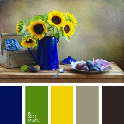 amarillo mostaza, azul oscuro, azul oscuro fuerte, color azul eléctrico, color de las hojas, color de los girasoles, colores para la decoración, gris, gris oscuro, gris oscuro y amarillo, paletas de colores para decoración, paletas para un diseñador, verde amarillento, verde y amarillo.