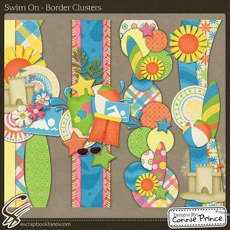 Swim On - Border Clusters :: Page Edges :: Embellishments :: SCRAPBOOK-BYTES