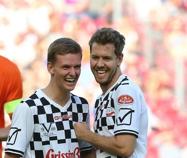 Nice pic of Sebastian Vettel with Mick Schumacher today at the #ChampionsForCharity football match :)