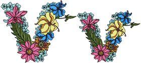 Exotic Flowers Font - Letter V