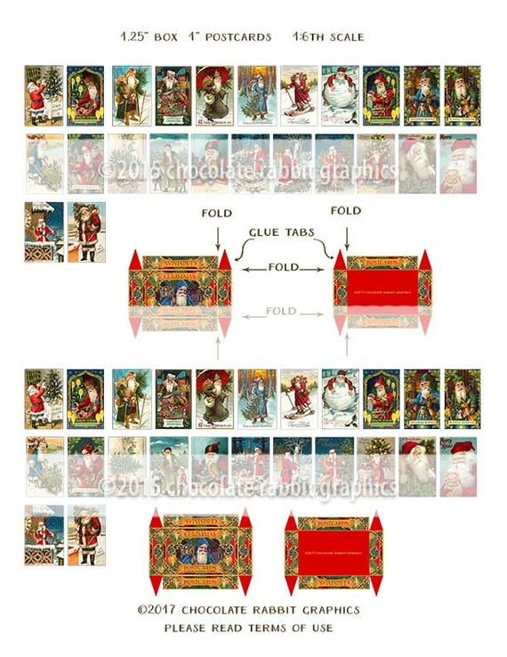 1:12 Miniture Christmas for Dollhouses Vintage christmas boxes dollhouses. Dollhouse Chirstmas Noel set two boxes
