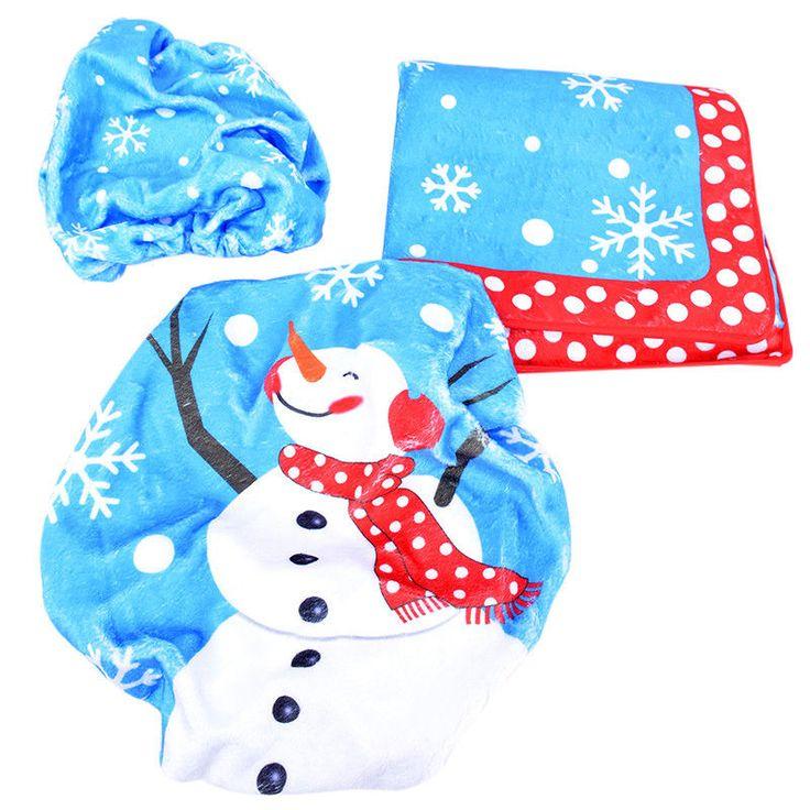 Christmas Creative Decorations Snowman Toilet Seat Bathroom Ornament Gw