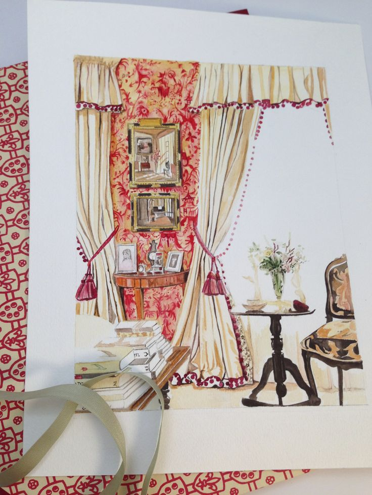 Scalamandre wallpaper, Pillement inspired, Petit Chinois pretty with pom pom tape on curtains