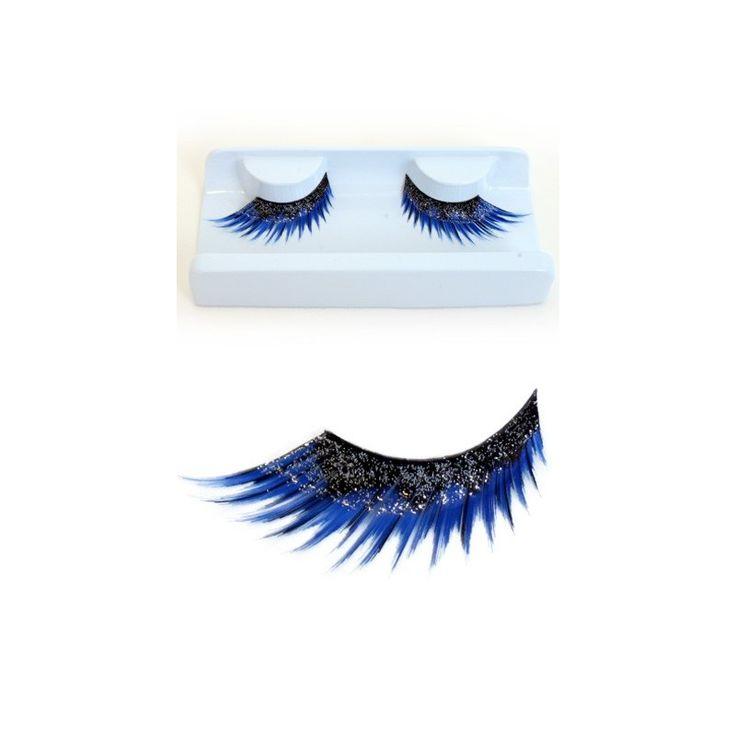 wimpers blauw / zwart met glitters €4,95 www.feestshopbrouwer.nl