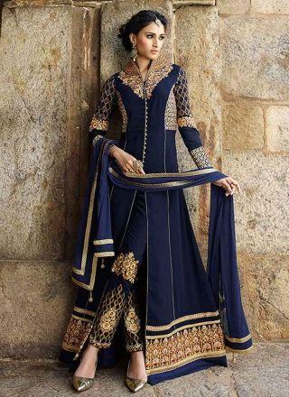Glossy Royal Blue Georgette Pakistani Dress http://www.angelnx.com/Salwar-Kameez