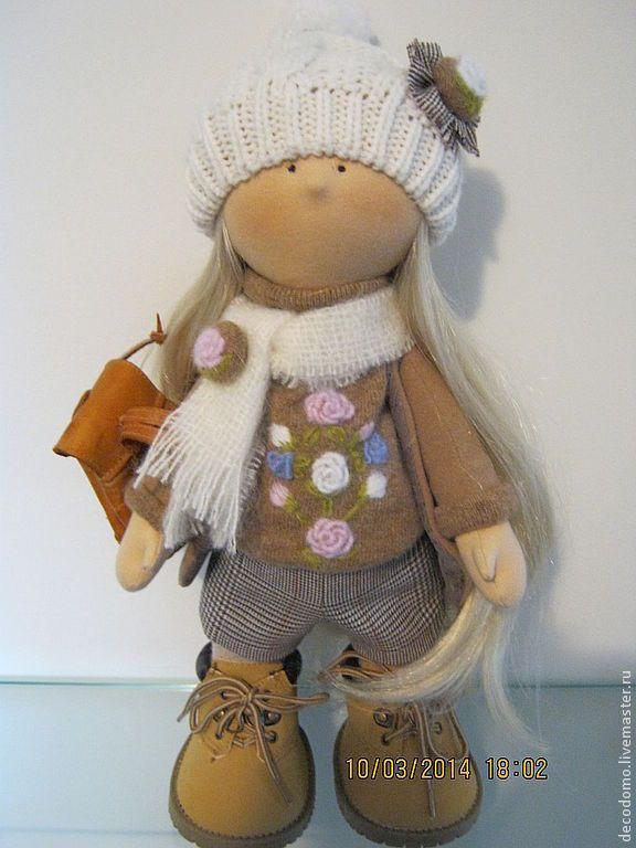 Купить Текстильная кукла САНДРА для примера - кукла текстильная, кукла ручной работы, Снежка, большеножка