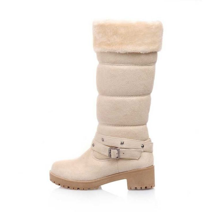 Fashion Warm Plush Luxury Belted Fur-Lined Winter Snow Boots 4 Colors