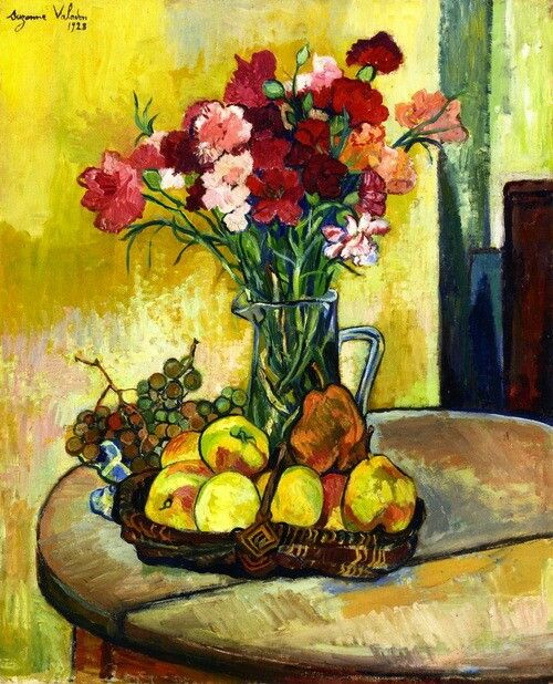 Suzanne Valadon, 1928, Stilleven met appels en bloemen