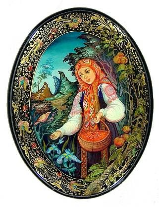 """Berry Picking"" Lacquer Art By T Suslova (Mstera)"