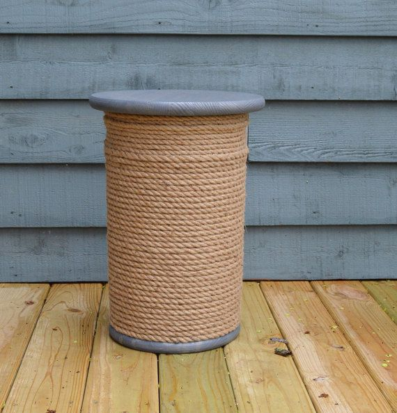 Nautical Decor Wooden Spool Table Storage Table Rope Accent
