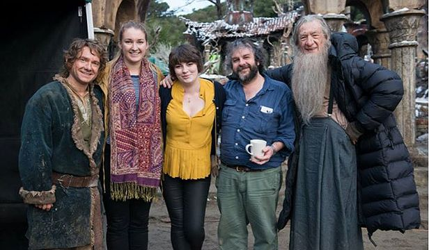 """Wellingtonian Harriet Rowland, author of """"The Book of Hat"""", on the set of the Hobbit with Martin Freeman, Ian McKellen and admirer Sir Peter Jackson."""