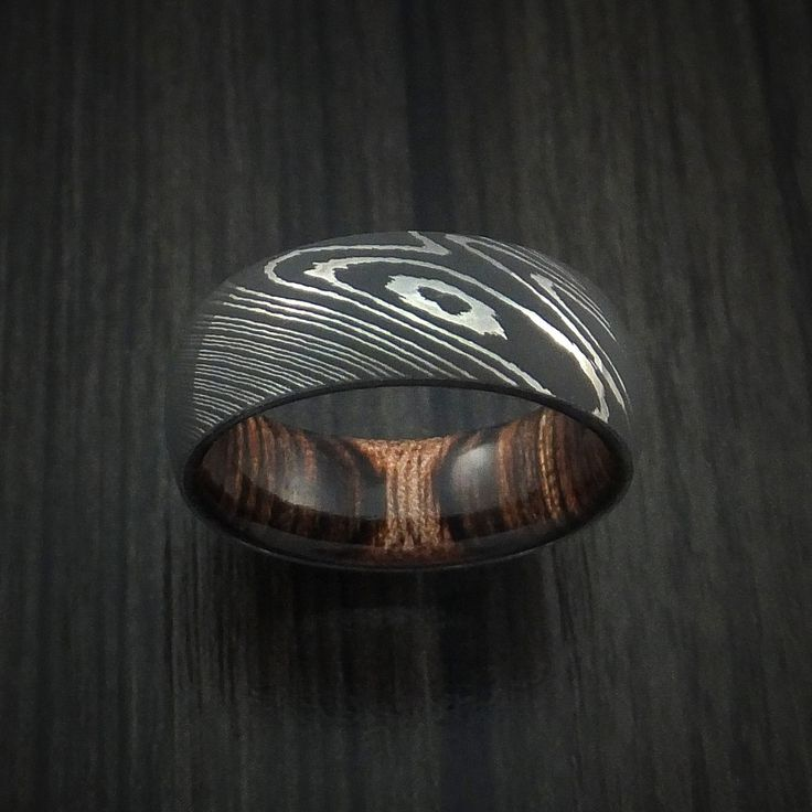 Damascus Steel Ring with Heritage Brown Hardwood Interior Sleeve Custom Made - Revolution Jewelry  - 2