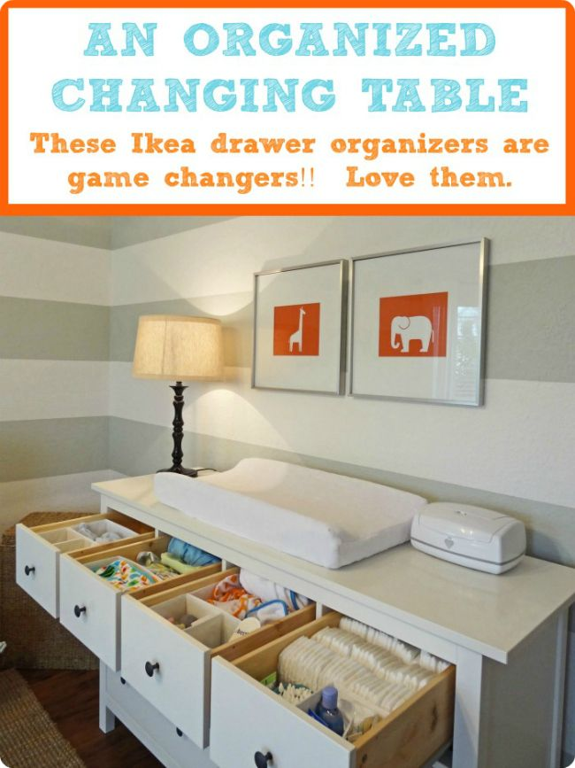 [the good life blog]: Organizing your little one's nursery / bedroom!  I pinned because i like the horizontal grey lines & the orange prints