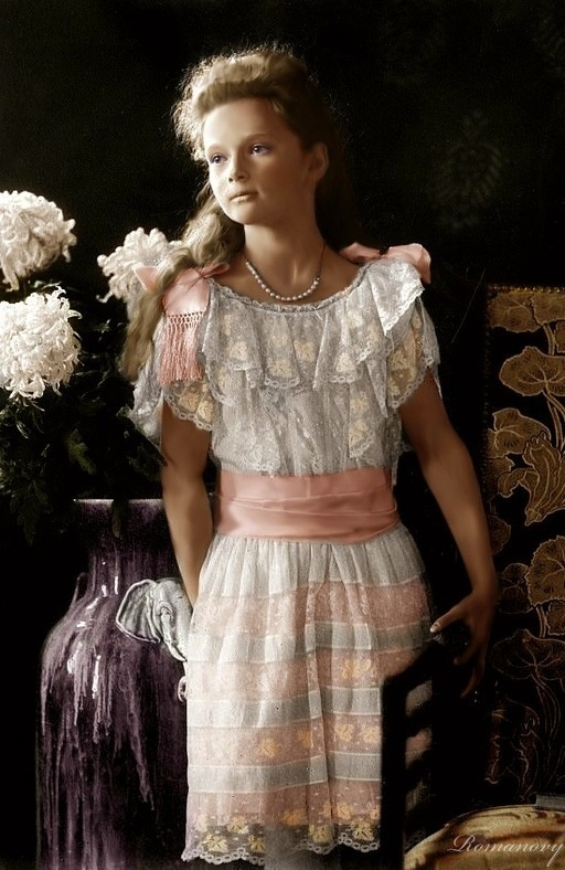 The Romanovs. Grand Duchess Tatiana Nikolaevna of Russia, daughter of Emperor Nicholas II; 1904.----Despite my searching I'm unsure of the creator of this piece---I am even unsure of whether it is a colorized photo or painting.  Irrespective, the light in it is  wonderful and perhaps it is a photograph after all.  It has elements of both colorized photograph and painting.  JT