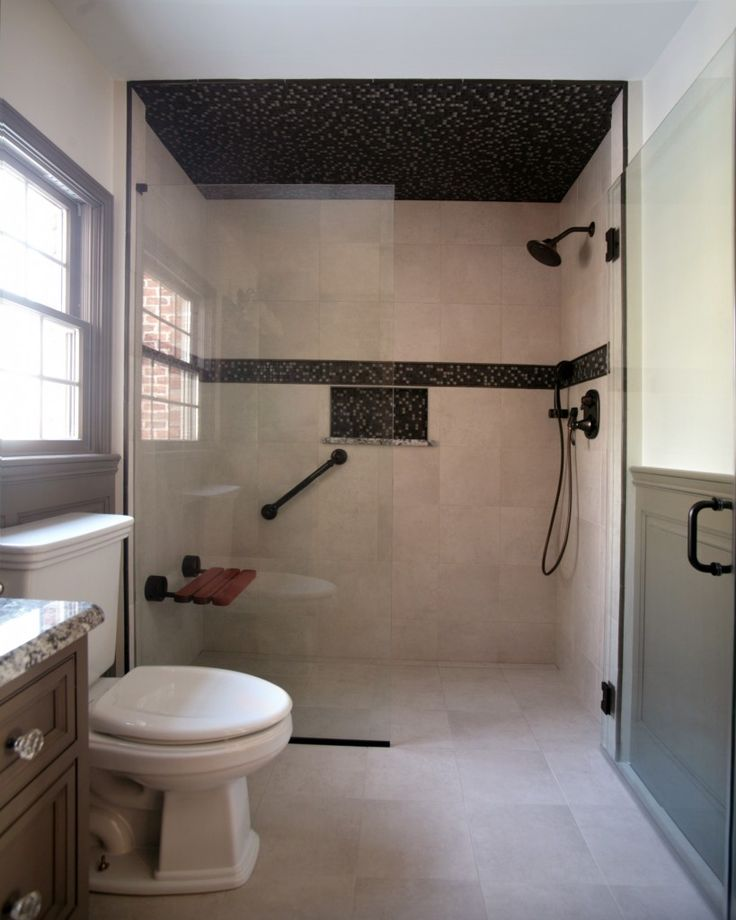 beautiful shower design using dark focal areas