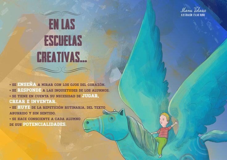 En las escuelas creativas se vuela en un Pegaso. Podéis seguir leyendo en http://elblogdemanuvelasco.blogspot.com.es/2014/05/en-las-escuelas-creativas-se-vuela-en.html