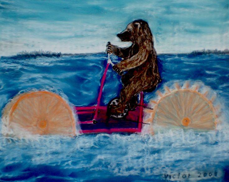 Nalles vattencykel, pastell på papper. Nalle's water-bike, pastel on paper.