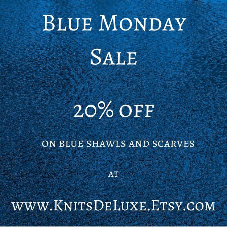 Make Blue Monday less blue at www.KnitsDeLuxe.Etsy.com #BlueMonday #Etsy #etsyfinds #etsygifts #handmadegifts #blueshawl #bluescarf #blueknits