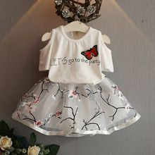 2016 Fashion Summer Children Girls Butterfly Letters T shirts Floral +TUTU Skirt…
