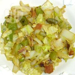 Czech Cabbage and Bacon----Cooked cabbage with bacon, onion, celery, green capsicum and vinegar. Preparation: 0:20, Cook: 0:10, Serves: 10, Rated: 4/5 stars.