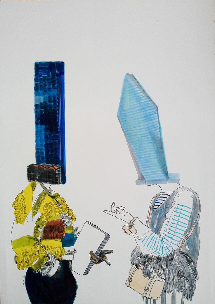 SALİHA YILMAZ / KENTLİ KADINLAR 2 - URBAN WOMEN 2  Kağıt Üzerine Karışık Teknik / Mixed Media on Paper, 35x50 cm, 2015.