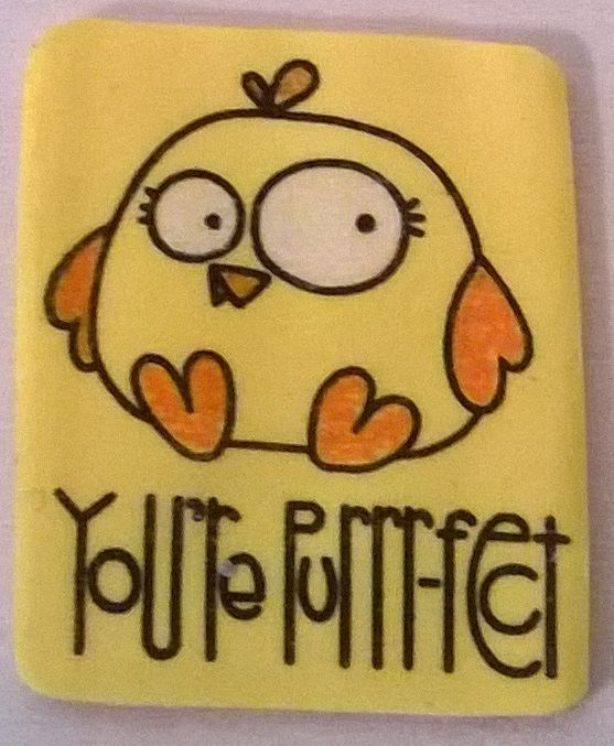 Shrink plastic magnet. Bird and text are stamps from Paper Smooches. / Magneetti kutistemuovista.