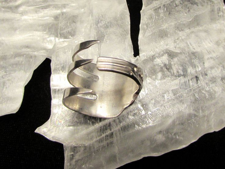 Sterling Silver Fork ring.  Three tine Fork ring. by TheCraftyVision on Etsy