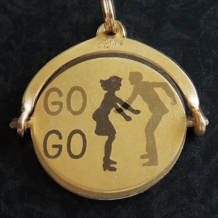 Vintage 1960's Enamel GO GO DANCING MOD COUPLE 14k Gold Spinner Charm SO RETRO #Charm