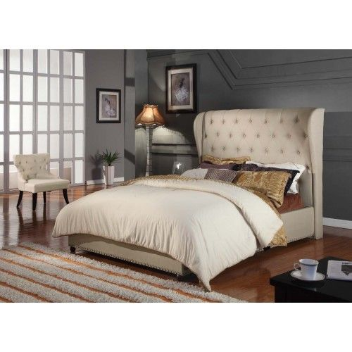 contemporary provincial fabric bed frame beige buy bed frames mydeal - Buy Queen Bed Frame