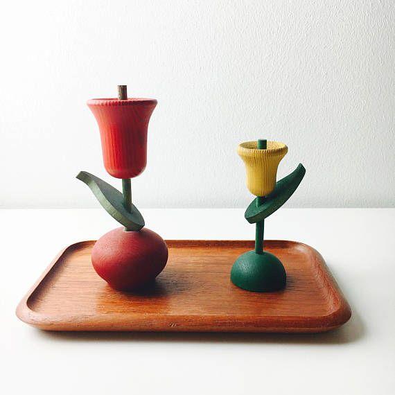 Vintage Aarikka wooden flower sets with signature-Kaija