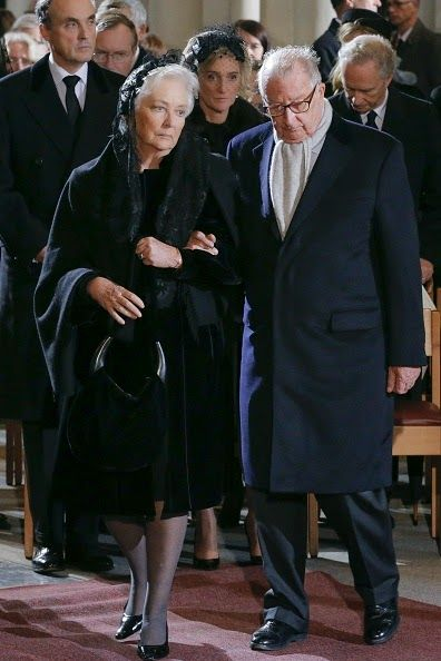 Queen Paola and King Albert II of Belgium attend the funeral ceremony of Queen Fabiola at the Saint Michael and Saint Gudula Cathedral in Brussels on 12.12.2014.