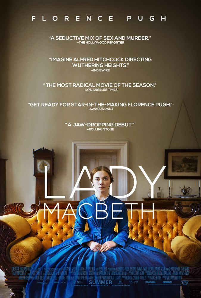 Lady MacBeth British drama film directed by William Oldroyd. Set in 19th century rural England, young bride who has been sold into marriage to a middle-aged man discovers an unstoppable desire within herself as she enters into an affair with a work on her estate. Written by Nikolai Leskov, Alice Birch. Stars: Florence Pugh, Christopher Fairbank, Cosmo Jarvis, Cosmo Jarvis, Paul Hilton, Naomi Ackie.
