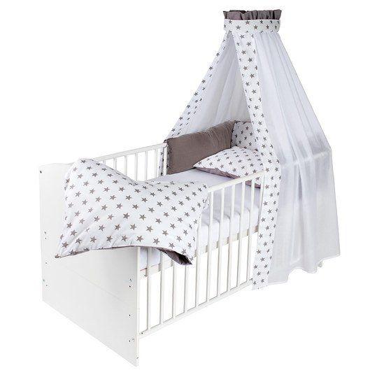 Komplettes Set aus hochwertigem Kinderbett, Matratze, Himmelstange und zauberhafter Textilausstattung