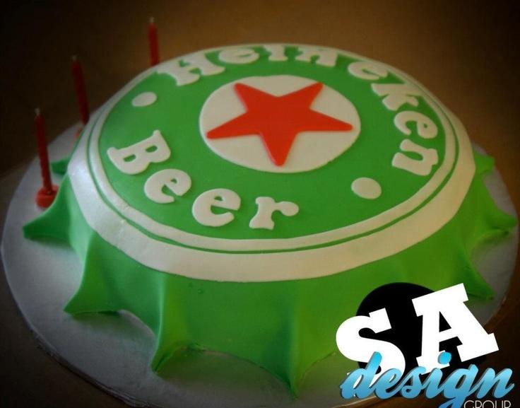 40th Birthday Presents >> Heineken Beer Bottle Cap Cake.   3D Cakes by Sara   Pinterest   Beer bottles, Bottle caps and ...