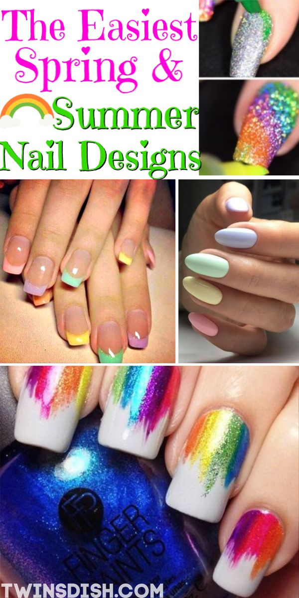 Super Easy Spring Summer Nail Designs Twins Dish Diy Nail Designs Nail Designs Easy Diy Nail Designs Summer