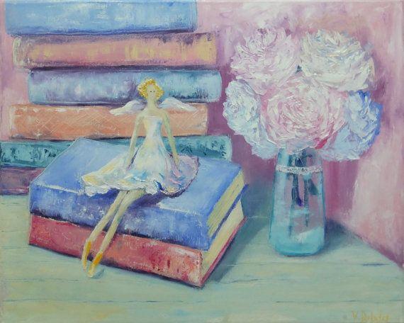 Картина маслом потертый шик Картина, Ангел куклы Тильда, розы картина красивый, романтичный подарок девушка, ангел фото в винтажном стиле Прованс розовый