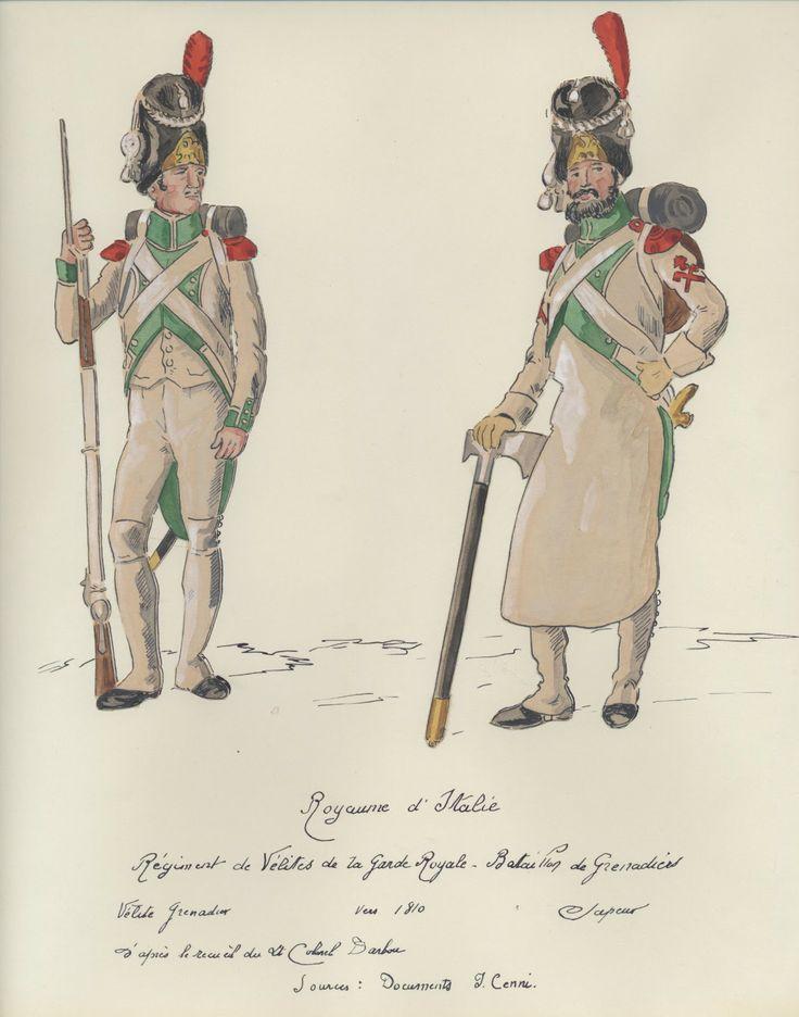 Italyl Grenadier Battalion  of the Velite Regiment ofThe Royal Guard c.1810. Velite Grenadier and Sapper.